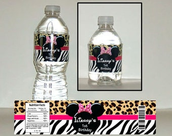 Printable Pink Minnie Mouse water bottle label Zebra and Cheetah