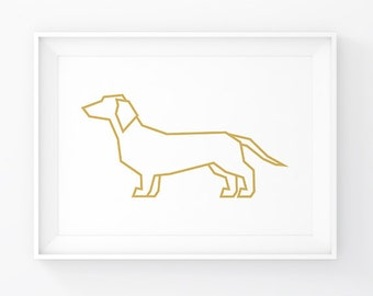 Doxie, Dachshund, Wiener Dog, Gold Dachshund, Dachshund Print, Dachshund Art, Sausage Dog, Weiner Dog, Dachshund Decal, Dachshund Gift, Dog