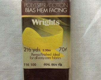 """Vintage 1978 New Wide Seal Brown Poly/Cotton Hem Facing Trim 1-7/8"""" wide x 2-1/2 yards long by Wrights"""