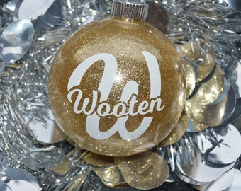 Christmas Ornament - Gold Ornament - Glitter Ornament - Round Ornament - Monogram Ornament - Name Ornament - Letter Ornament - Glitter Name
