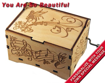 """Fairy Jewelry Music Box, """"You Are So Beautiful"""", Laser Engraved Wood Hand Crank Storage Music Box"""