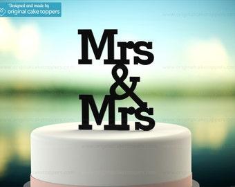 "Gay Lesbian Wedding Cake Topper - ""Mrs & Mrs"" - BLACK - OriginalCakeToppers"