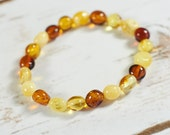 Genuine Natural Baltic Amber Bracelet Handmade Cognac Brown White Beads Rubber String Elastic Mens Bracelet Free USA Australia Shipping B005