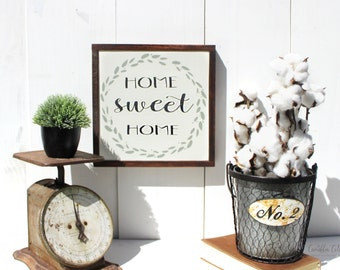 Home Sweet Home Wooden Sign - Wood Signs - Farmhouse Wall Decor - Modern Farmhouse decor - Fixer Upper Wall Decor - Home Rustic Sign