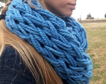Chunky arm knit cowl infinity scarf sky blue- thick