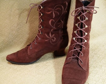 1980's Brown Suede Granny Boots
