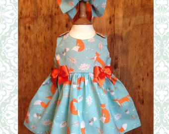 Skeletots baby girl fox dress rockabilly ages 0-24m