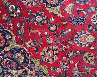 Vintage Persian Rug 9x12 Superb Kashan in Rich Garnet Red from 1950s
