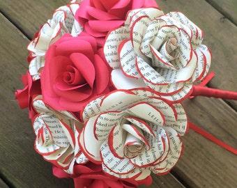 Handmade book page and red paper flower bouquet arrangement for wedding, anniversary, dance recital, gift, toss bouquet paper roses