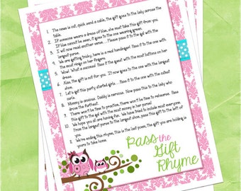owl themed baby shower pass the gift game pink and teal damask