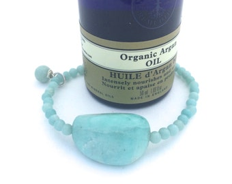 Stretch Bracelet with Amazonite and Sterling Silver (Handmade)