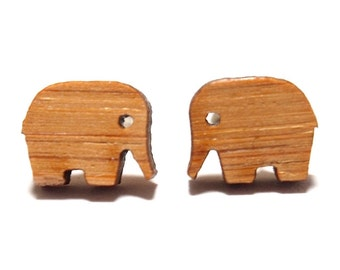 Elephant Earrings in Bamboo, Elephant Stud Earrings, Elephant Studs, Elephant Gifts, Titanium Earrings, Wooden Earrings, Cute Earrings