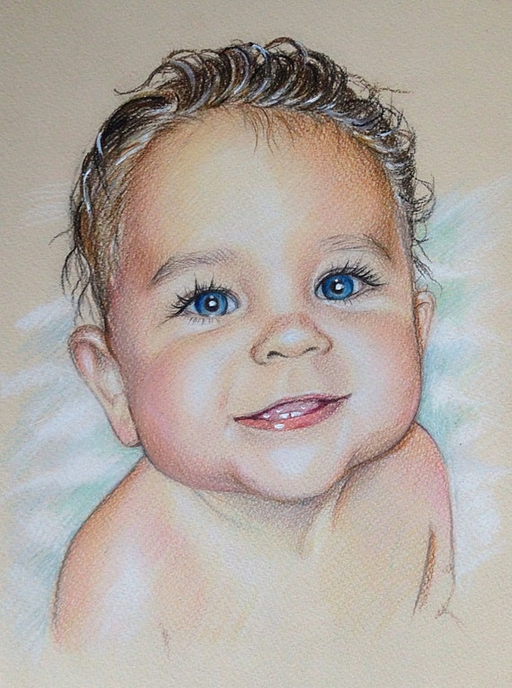 8x12 Custom portrait baby Portrait gift pencil portrait