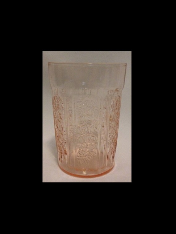 "FREE SHIPPING-Fabulous-Vintage-1930's- Deression Era-Fedral Glass Co.- Sharon-Pink-Cabbage Rose-4""-Thin-Water Tumbler"
