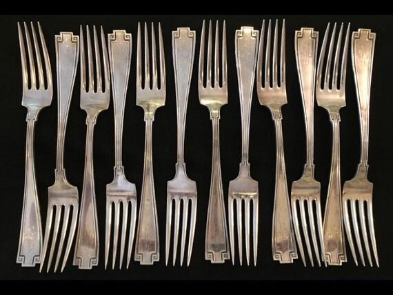 "FREE SHIPPING-12-Antique-1913-Gorham-Etruscan-Sterling-Silver-Flatware-Dinner Forks-7 5/8""-Monogram"