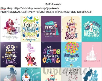 PRINTABLES #Disney Pattern/Quotes Stickers for Erin Condren Square Instant download
