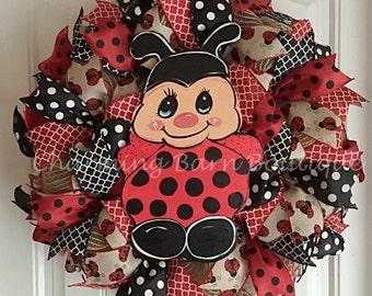 Summer Wreath, Spring Wreath, Ladybug Wreath, LadyBug, Summer Decor, Spring Decor, Large Wreath, Ladybug Decor, Door Decor, Ladybugs