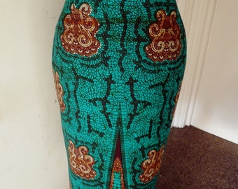 Green and Black Ankara Pencil Skirt, Ankara Pencil Skirt, African Wax Short Skirt – Made to Order
