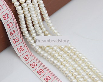 White Pearl Roun Rondelle Beads, 4-5mm Natural White Freshwater Pearl Spacer Beads for Necklace Bracelet Making (XMZ72)