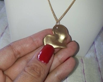 Gold Heart Necklace    .Elegant necklace for women 50 cm long.