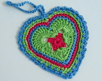 Hanging heart crochet ornament door hanger cotton thread home decor multicolour