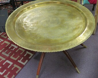 Vintage Asian Brass Top Spider Leg Table