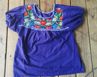 Purple Mexican Embroided Blouse