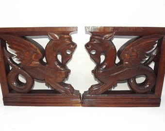 Antique French Victorian Furniture Gothic Craved Oak Wood Corbels    Architectural Supports   Griffins   Architectural