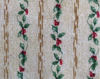 4 yards holly and  berries  Christmas fabric