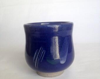 Blue Yunomi Tea cup, Japanese Tea Cup, Ceramic Tea Cup, Handmade