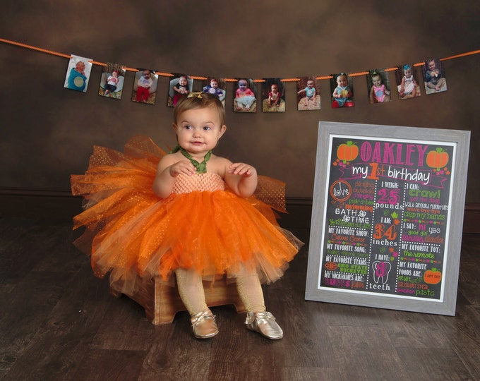 Pumpkin Patch Chalkboard / First Birthday Pumpkin Chalkboard /Girl First Birthday Chalkboard Sign/ Pumpkin Halloween Chalkboard/Digital File