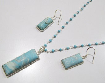 Sterling Silver Pendant Set with Turquoise Rosary chain/ Fancy Shape Stone / Size15x55mm including Bail /Blue Turquoise Stone Jewelry