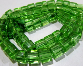 Best Quality Green Color Hydro Quartz Smooth Box Beads / 5mm Size Cube Shape Beads / Strand 10 inch long / Approx 55 to 60 Beads per Strand