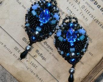Vintage earrings, antique, evening earrings, embroidered earrings, black earrings, blue earrings, antique earrings, gift for her