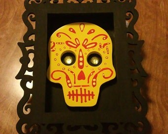 Yellow  Sugar Skull Mounted In A Black With Shadow Box