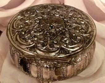 Metal Trinket Box, Metal Jewelry Box, Keepsake Box Red Lining, Scroll Detail Metal Jewel Box, Round Trinket Box