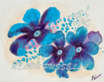 Blue Flowers-Giclee print of Watercolor painting