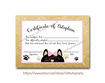 adoption certificate etsy. Black Bedroom Furniture Sets. Home Design Ideas