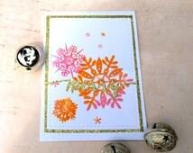 Watercolour Christmas Card / Watercolour Snowflakes / Modern Christmas Card / Hand-Stamped Christmas Card / Non-traditional Christmas Card