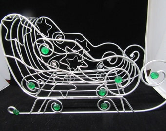 Sleigh Basket Vintage Silver Wire With Green Bling and Stars Christmas Decor Holiday Decor Gift Idea Card Holder Centerpiece