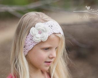 Boho Headband, Girl Headband, Women Headband, Lace Headband, Crochet Lace, Adult Headband, Flower Headband, Button Headband, Little Girl