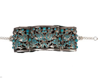 Indian Sterling Silver and Turquoise Bracelet