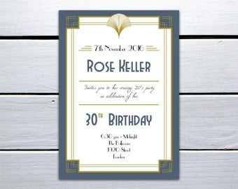 Printable 1920s Great Gatsby Inspired Personalised Printable Birthday Invitation