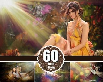 60 Natural Sun Light Photoshop Overlays, Fairy Glow Effect, Sun Rays, Sun Lens Flare, Sun beams and streaks, jpg file