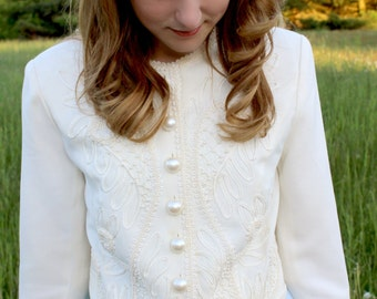 Vintage White Embroidered Jacket