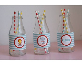Circus Bottle Labels Set of10, Circus Party Supplies, Circus Birthday Decorations, Circus Party Ideas, Circus Decorations,Circus Party Decor
