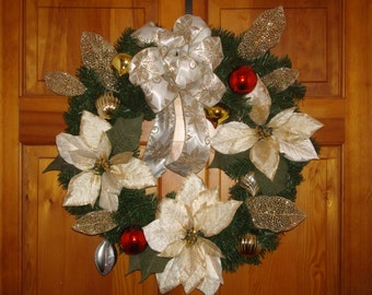 "24"" Christmas Wreath with Large Poinsettias and Hand made Bow"