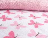Wipes / Small Napkins / Cloth Napkins / Kid's Napkins / Lunchbox Napkins / Family Cloth / Dessert Napkins, Set of 10 Pink Butterfly Print