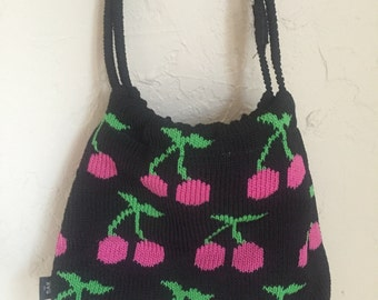 quirky crotchet cherry print purse
