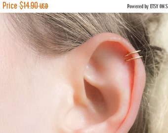 Sale - Gold Ear Cuff, Double Ear Cuff, Fake Helix Earring, Ear Wrap, Helix Cuff, Cartilage Cuff, Cartilage Earring, Tiny Ear Cuff